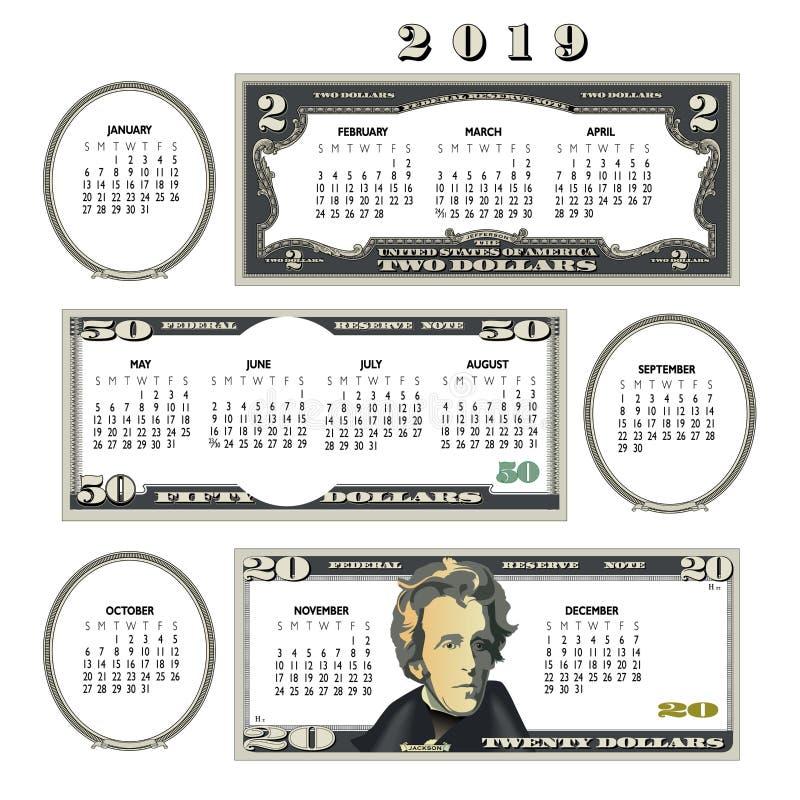 het geldkalender van 2019, ideaal voor om het even welke zaken royalty-vrije illustratie