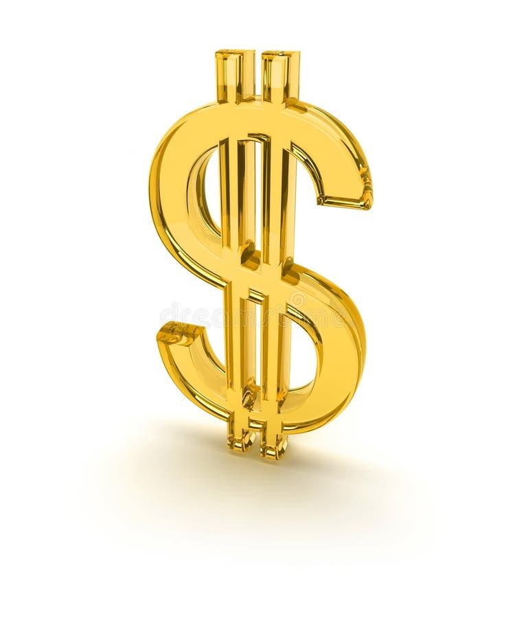 Het gele 3d teken van de dollar - 1 vector illustratie