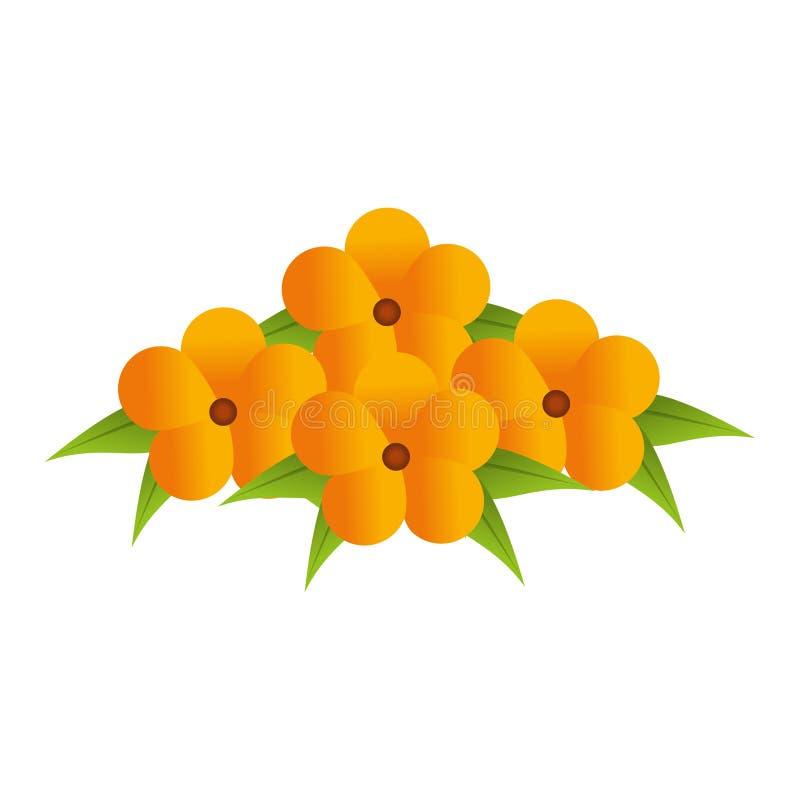 Het gele bloemenontwerp van het bloemenboeket met bladeren royalty-vrije illustratie