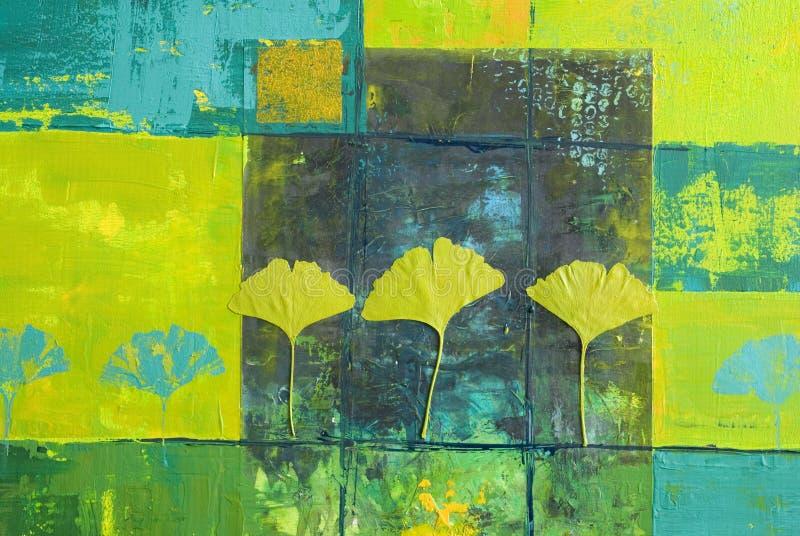 Het gele en blauwe schilderen royalty-vrije illustratie