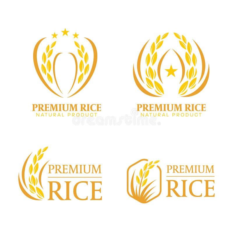 Het gele en bruine organische van het het embleemteken van de het natuurlijke productbanner van de padiepremie vectorontwerp royalty-vrije illustratie