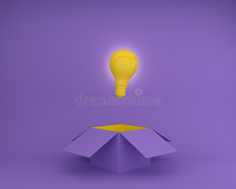 Het gele gloeilampen het gloeien creatieve idee denkt buiten de doos op purpere achtergrond, Conceptenidee over Zaken voor innova stock illustratie