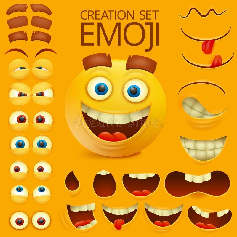 Het gele karakter van het smileygezicht voor uw scènesmalplaatje Emotie grote reeks vector illustratie