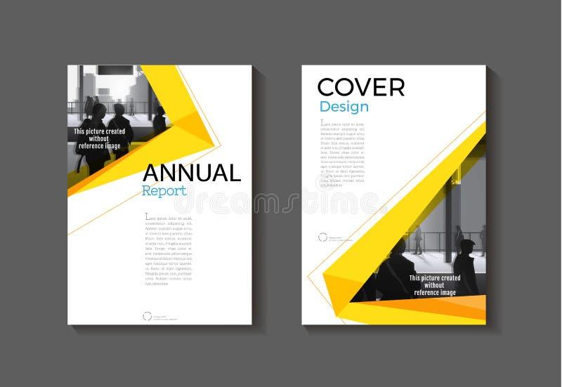 Het gele malplaatje van de het boekbrochure van de dekkings moderne abstracte dekking, desig stock illustratie