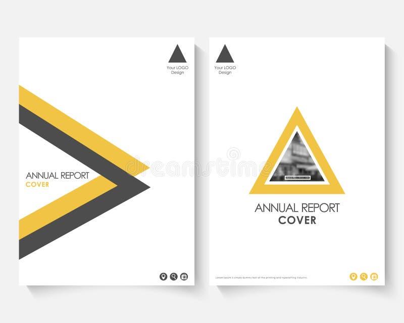 Het gele malplaatje van het dekkingsontwerp voor jaarverslag Modern bedrijfsconceptenboekje met infographics Vlieger en pamflet stock illustratie