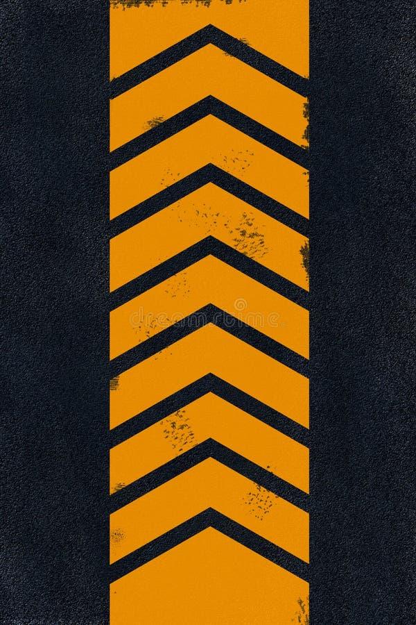 Het gele merken op zwart asfalt royalty-vrije stock afbeelding