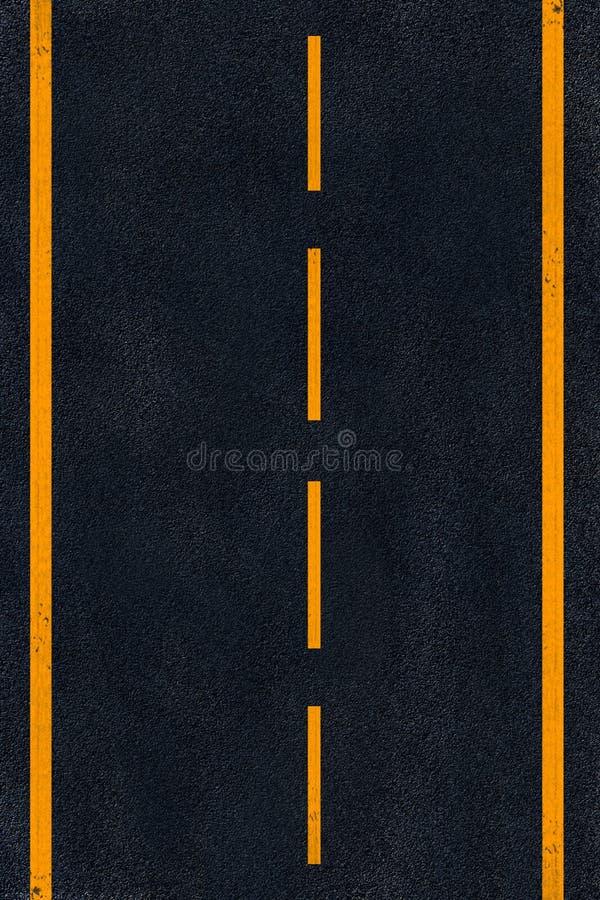 Het gele merken op zwart asfalt royalty-vrije stock foto's