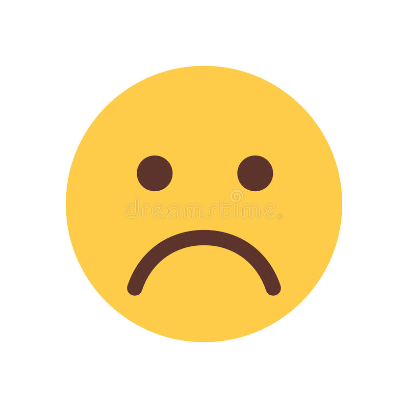 Het gele Pictogram van de de Mensenemotie van Emoji van het Beeldverhaalgezicht Droevige Verstoorde royalty-vrije illustratie