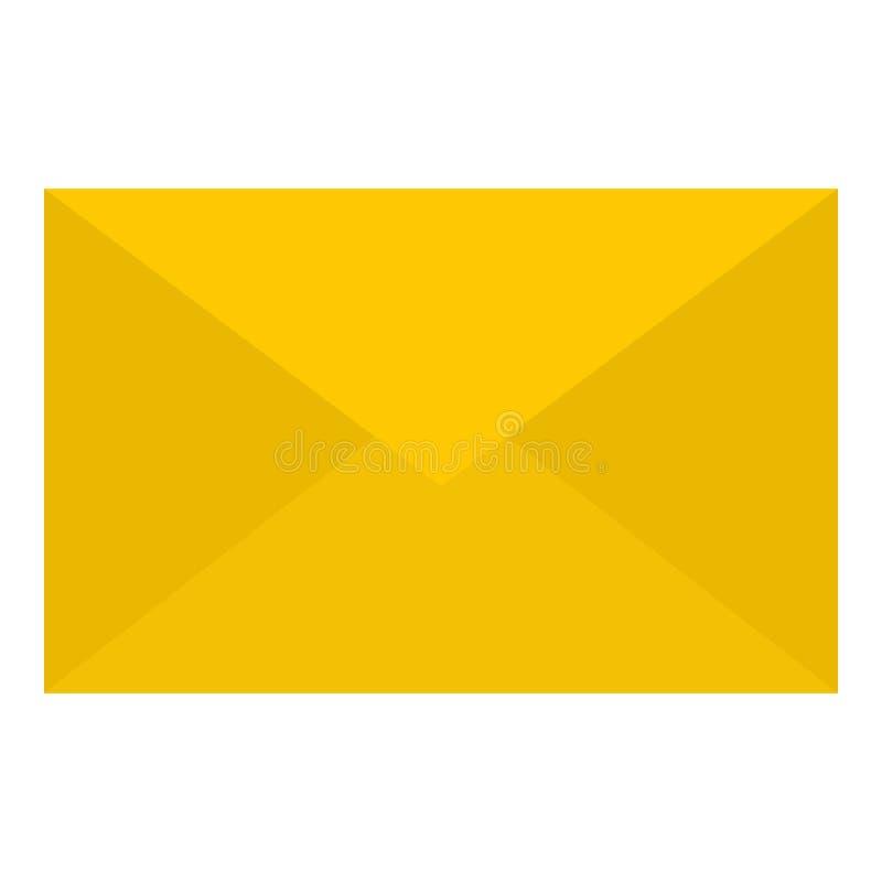 Het gele pictogram van de postbrief, vlakke stijl stock illustratie