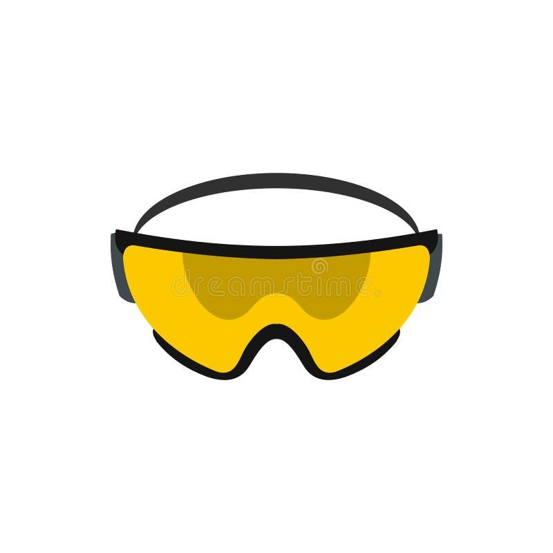 Het gele pictogram van de veiligheidsbril, vlakke stijl stock illustratie