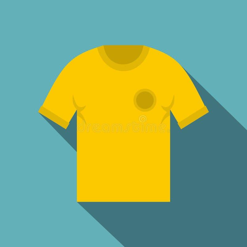 Het gele pictogram van het voetbaloverhemd, vlakke stijl stock illustratie