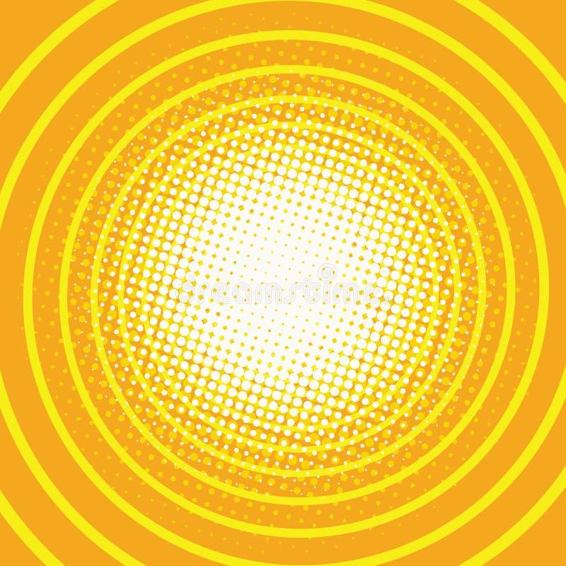 Het gele retro pop-art van de achtergrondringsgang vector illustratie