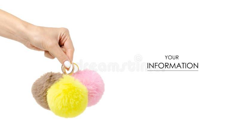 Het gele roze bruine in hand patroon van bontballen stock fotografie
