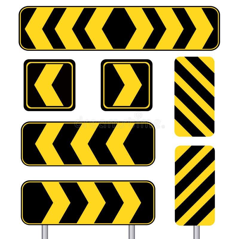 Het gele scherpe die teken van het krommevervoer op witte achtergrond wordt geplaatst vector illustratie