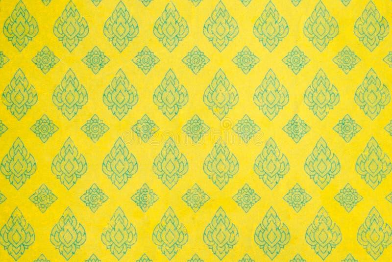 Het gele Thaise document van het stijlpatroon royalty-vrije stock afbeelding