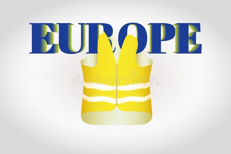 Het gele vest met glinsterende strepen hangt op brieven Europa op een grijze gradiëntachtergrond Vector illustratie vector illustratie
