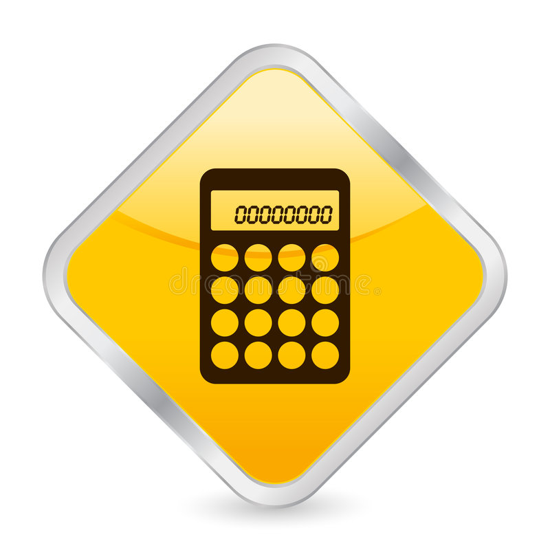 Het gele vierkante pictogram van de calculator royalty-vrije illustratie