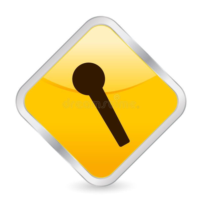 Het gele vierkante pictogram van de microfoon royalty-vrije illustratie