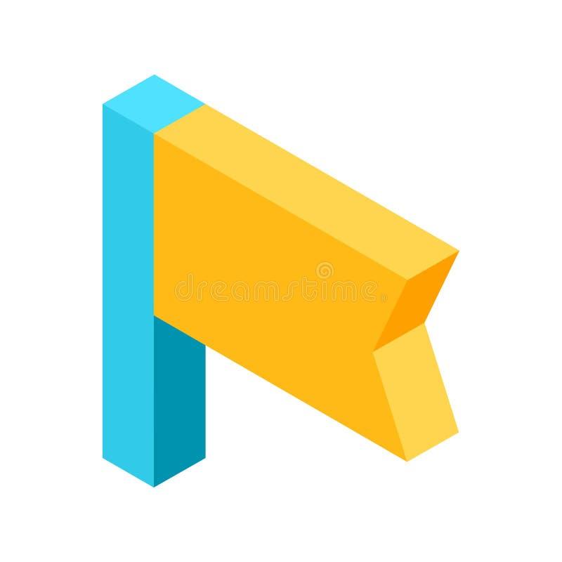 Het gele vlagpictogram dat referentie betekent isoleerde illustratie royalty-vrije illustratie