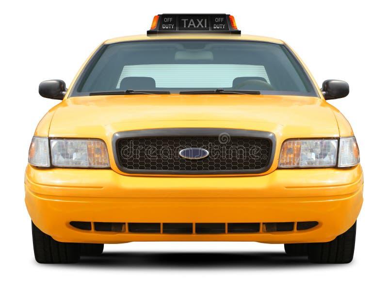 Het gele vooraanzicht van de taxiauto royalty-vrije stock fotografie
