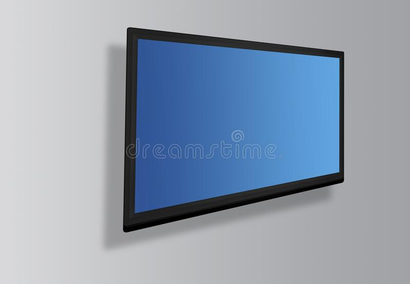 Het geleide of Lcd het scherm van TV hangen op de muur stock fotografie