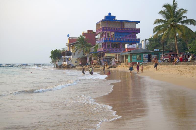 Het gelijk maken op de kusten van de Indische Oceaan Hikkaduwa, Sri Lanka royalty-vrije stock afbeeldingen