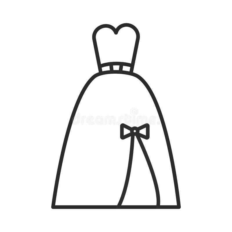 Het gelijk maken van het bruids pictogram van de kledings vectorlijn, teken, illustratie op achtergrond, editable slagen stock illustratie