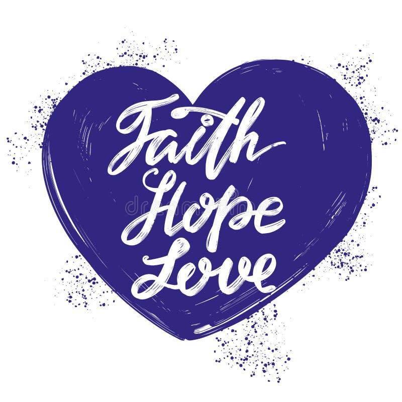 Het geloof, hoop, houdt van het citaat op de achtergrond van het hart, kalligrafisch tekstsymbool van Christendomhand getrokken v royalty-vrije illustratie