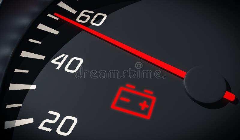 Het geloste licht van de batterijwaarschuwing in autodashboard 3D teruggegeven illustratie vector illustratie