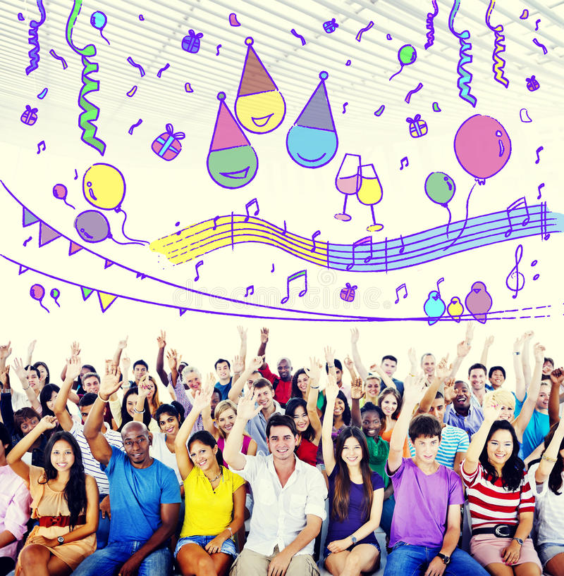 Het geluk geniet van Pret Jolly Festive Concept stock foto's