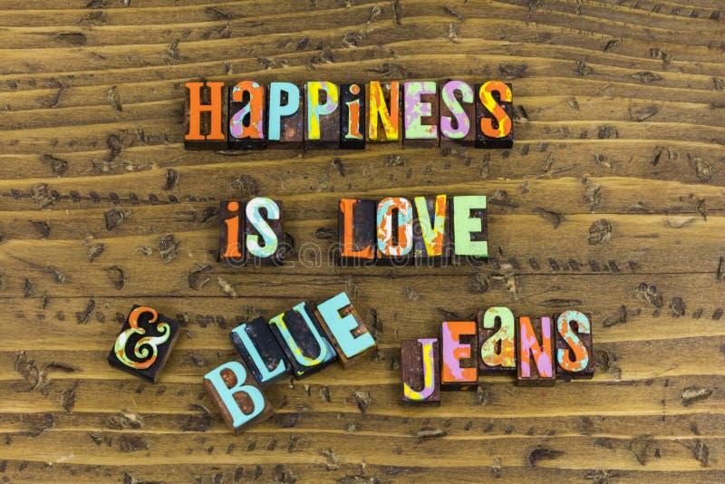 Het geluk is liefdejeans stock afbeeldingen