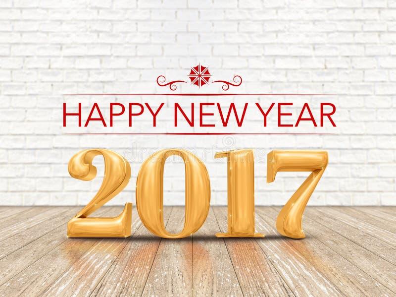 Het gelukkige aantal Nieuwe van de jaar 2017 (het 3d teruggeven) gouden kleur op houten pla vector illustratie