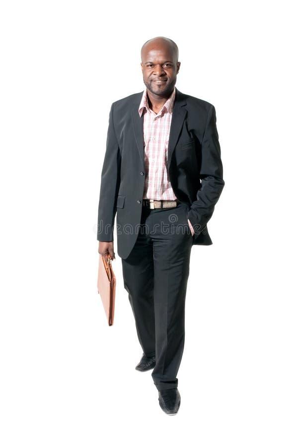 Het gelukkige Afrikaanse zakenman glimlachen royalty-vrije stock foto's