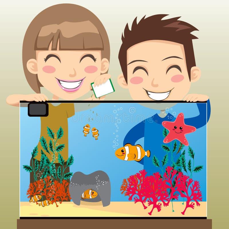 Het gelukkige Aquarium van Jonge geitjes royalty-vrije illustratie