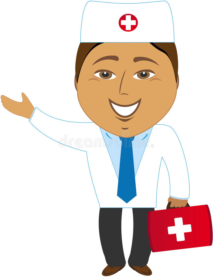 Het gelukkige Aziatische arts tonen stock illustratie