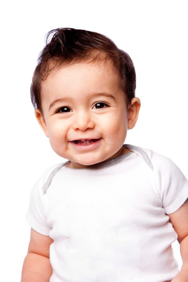 Het gelukkige babypeuter glimlachen royalty-vrije stock afbeeldingen