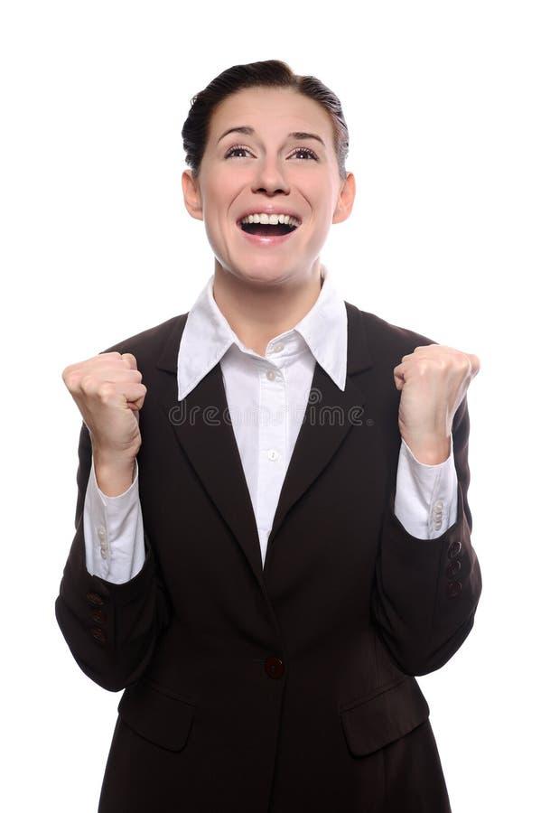 Het gelukkige bedrijfsvrouw schreeuwen stock fotografie