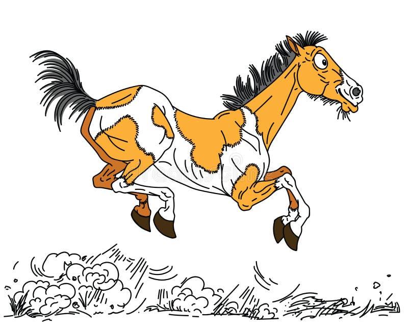 Het gelukkige beeldverhaal oude paard vrij lopen stock illustratie
