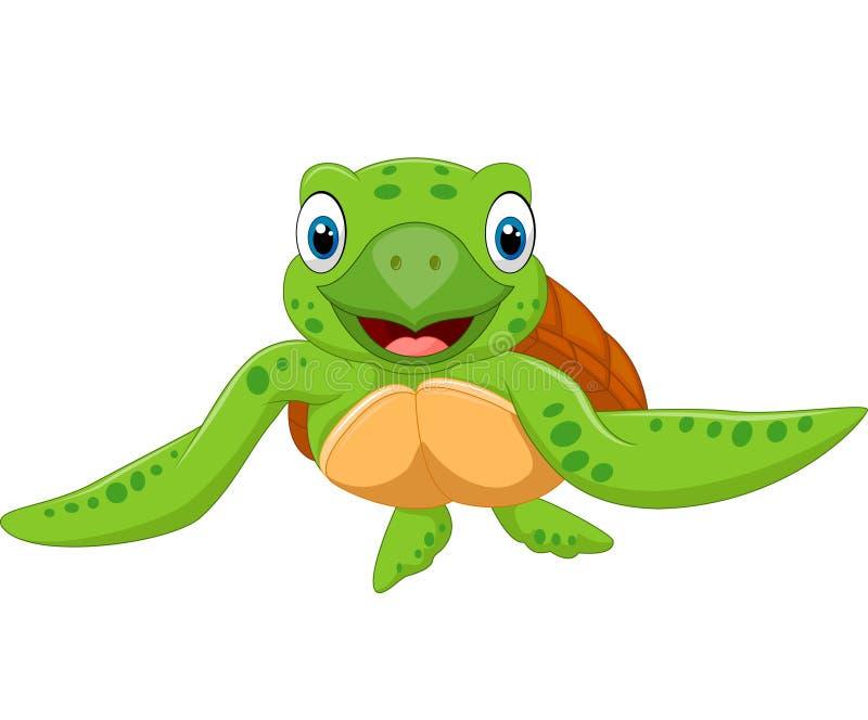 Het gelukkige beeldverhaalschildpad zwemmen royalty-vrije illustratie