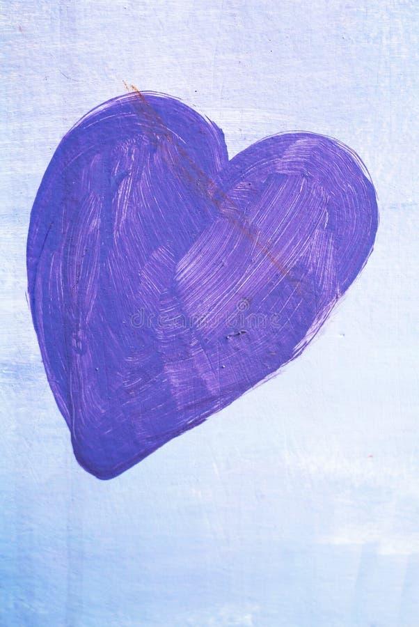 Het gelukkige blauwe geschilderde hart van Valentine Day royalty-vrije stock foto