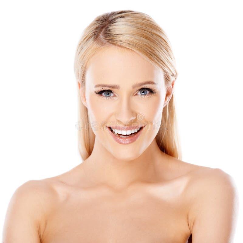 Het gelukkige blonde vrouw glimlachen royalty-vrije stock fotografie