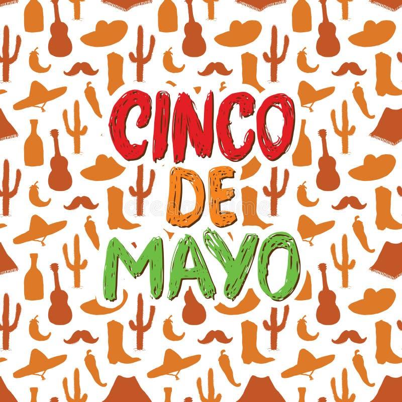 Het gelukkige Cinco de Mayo-de Hand van de groetkaart van letters voorzien Mexicaanse vakantie Vector illustratie vector illustratie