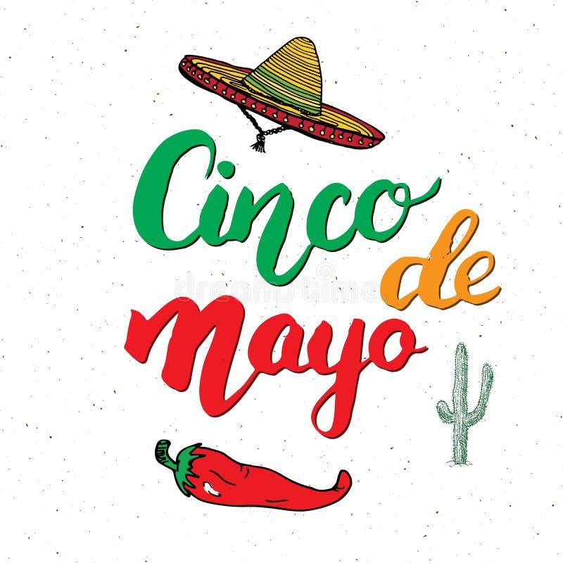 Het gelukkige Cinco de Mayo-de Hand van de groetkaart van letters voorzien Mexicaanse vakantie Vector illustratie die op witte ac royalty-vrije illustratie