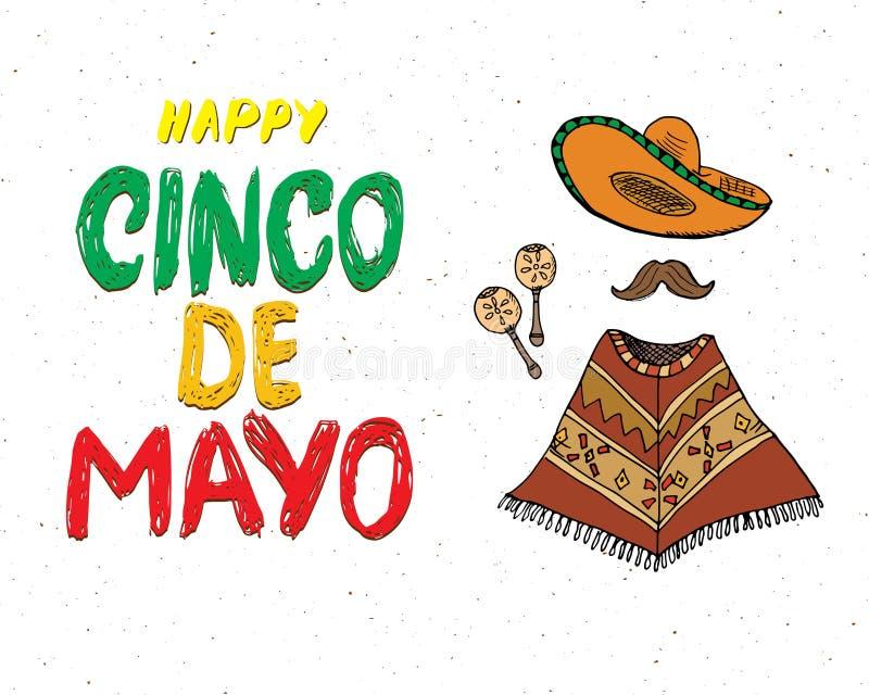 Het gelukkige Cinco de Mayo-de Hand van de groetkaart van letters voorzien Mexicaanse vakantie Vector illustratie die op witte ac vector illustratie