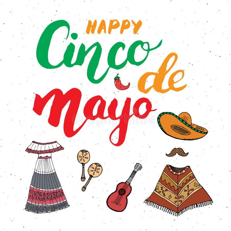 Het gelukkige Cinco de Mayo-de Hand van de groetkaart van letters voorzien Mexicaanse vakantie Vector illustratie op witte achter stock illustratie