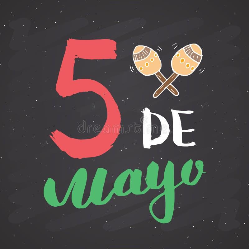 Het gelukkige Cinco de Mayo-de Hand van de groetkaart van letters voorzien Mexicaanse vakantie vectorillustratie op bordachtergro royalty-vrije illustratie