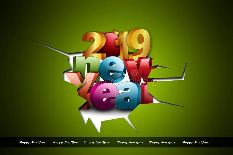 Het gelukkige concept van de Nieuwjaar 2019 viering op kleurenachtergrond royalty-vrije stock foto