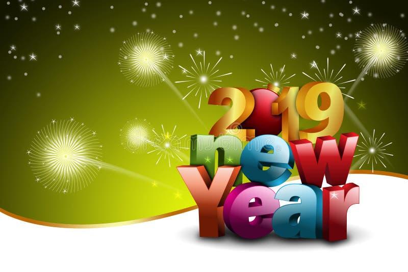 Het gelukkige concept van de Nieuwjaar 2019 viering op kleurenachtergrond royalty-vrije stock afbeelding