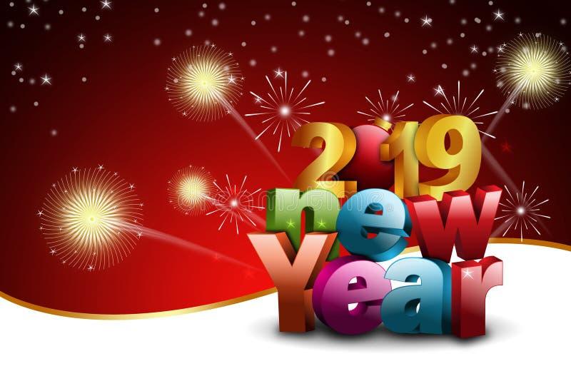 Het gelukkige concept van de Nieuwjaar 2019 viering op kleurenachtergrond royalty-vrije stock fotografie
