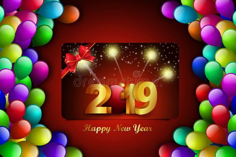 Het gelukkige concept van de Nieuwjaar 2019 viering op kleurenachtergrond royalty-vrije stock afbeeldingen
